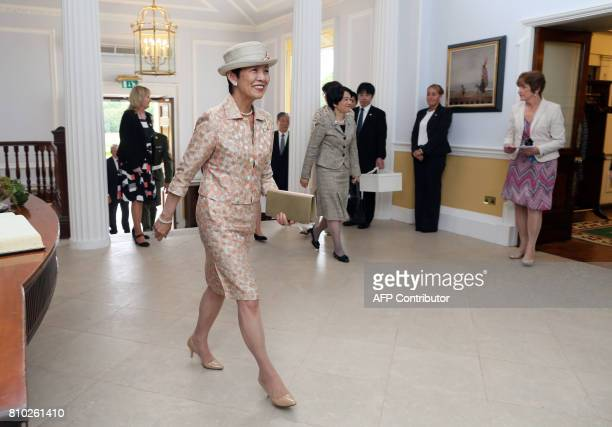 HIH Princess Takamado of Japan arrives at Aras an Uachtarain the residence of Irish President Michael D Higgins in Phoenix Park Dublin on July 7...