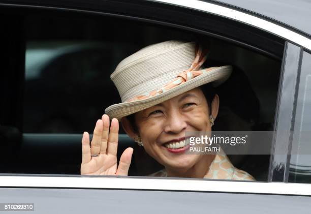 HIH Princess Takamado of Japan leaves Aras an Uachtarain the residence of Irish President Michael D Higgins at Phoenix Park Dublin on July 7 after...