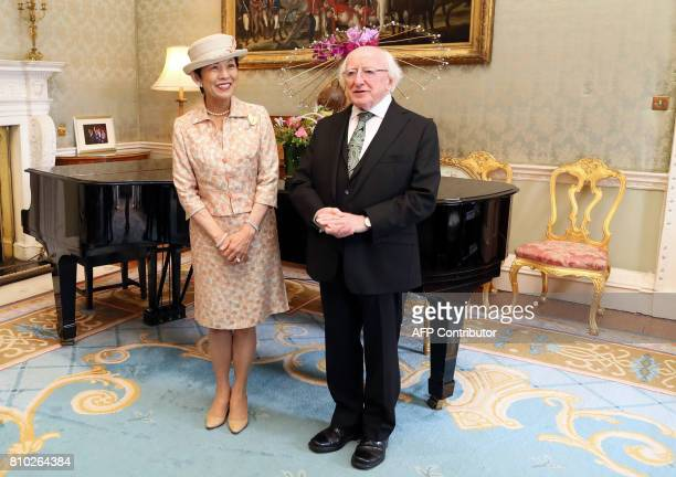 HIH Princess Takamado of Japan meets with Irish President Michael D Higgins at his residence Aras an Uachtarain in Phoenix Park Dublin on July 7...