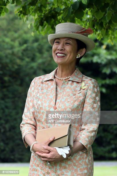 HIH Princess Takamado of Japan walks through the gardens of Aras an Uachtarain the residence of Irish President Michael D Higgins where she visited a...
