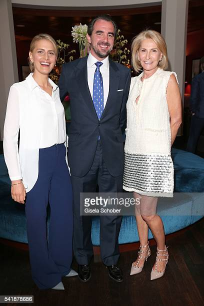 Princess Tatiana of Greece and her husband Prince Nikolaos of Greece and her mother Blanca Brillembourg during the presentation of her book 'Zu Gast...