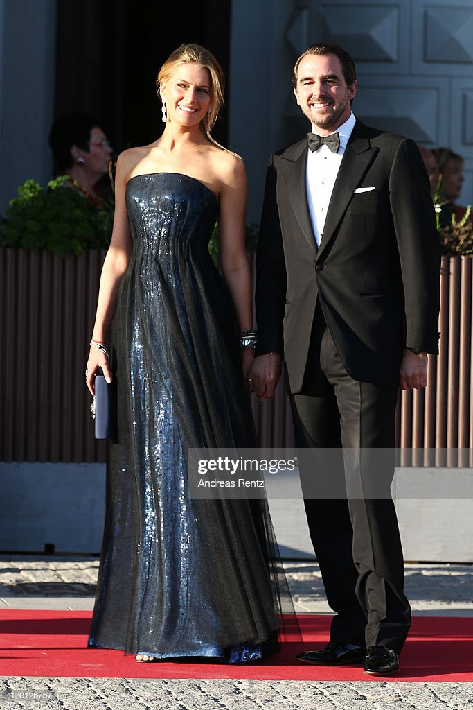 Princess Tatiana of Greece and Prince Nikolaos of Greece arrive at a private dinner on the eve of the wedding of Princess Madeleine and Christopher O'Neill hosted by King Carl XVI Gustaf and Queen Silvia at The Grand Hotel on June 7, 2013 in Stockholm, Sweden.
