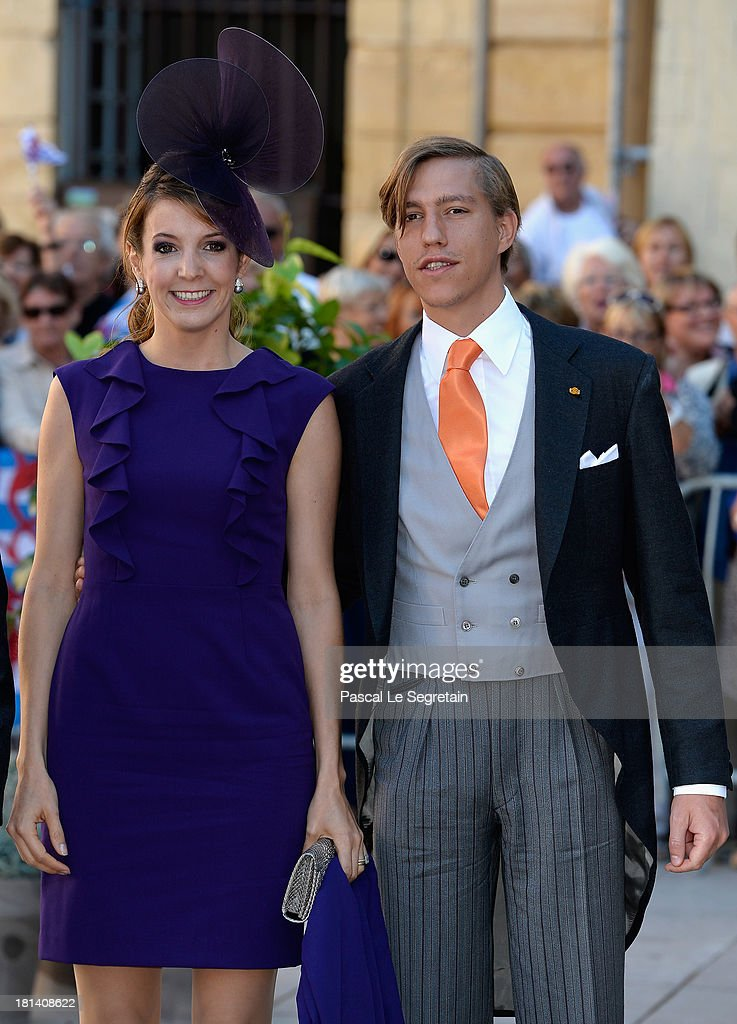 Princess Tessy Of Luxembourg and Prince Louis Of Luxembourg attend the Religious Wedding Of Prince Felix Of Luxembourg and Claire Lademacher at the Basilique Sainte Marie-Madeleine on September 21, 2013 in Saint-Maximin-La-Sainte-Baume, France.