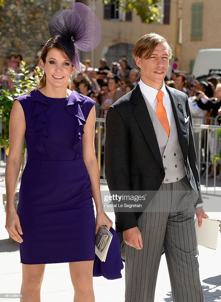 Princess Tessy Of Luxembourg and Prince Louis Of Luxembourg depart from the Religious Wedding Of Prince Felix Of Luxembourg and Claire Lademacher at the Basilique Sainte Marie-Madeleine on September 21, 2013 in Saint-Maximin-La-Sainte-Baume, France.