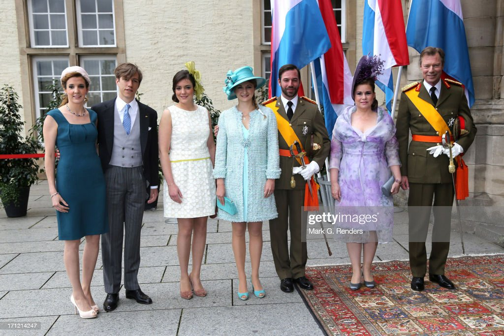 <a gi-track='captionPersonalityLinkClicked' href=/galleries/search?phrase=Princess+Tessy+of+Luxembourg&family=editorial&specificpeople=7064107 ng-click='$event.stopPropagation()'>Princess Tessy of Luxembourg</a>, <a gi-track='captionPersonalityLinkClicked' href=/galleries/search?phrase=Prince+Louis+of+Luxembourg&family=editorial&specificpeople=674475 ng-click='$event.stopPropagation()'>Prince Louis of Luxembourg</a>, Princess Alexandra of Luxembourg, Princess Stephanie of Luxembourg, Prince Guillaume of Luxembourg, Grand Duchess Maria Teresa of Luxembourg and Grand Duke Henri of Luxembourg celebrate National Day on June 23, 2013 in Luxembourg, Luxembourg.