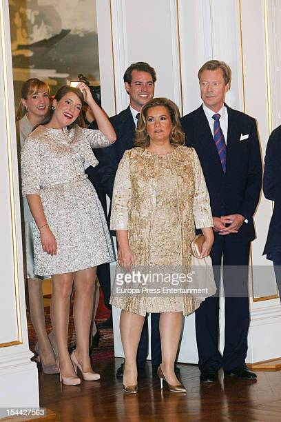 Princess Tessy Princess Alexandra Prince Louis Duchess Maria Teresa of Luxembourg and Grand Duke Henri of Luxembourg during the civil ceremony for...