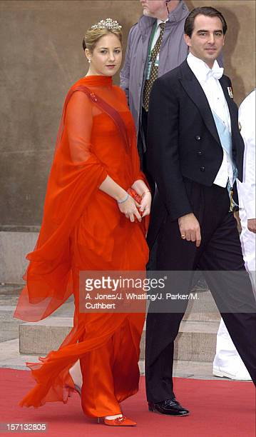 Princess Theodora Prince Nikolaos Of Greece Attend The Wedding Of Crown Prince Frederik Mary Donaldson At The Vor Frue Kirke Catherdal In Copenhagen