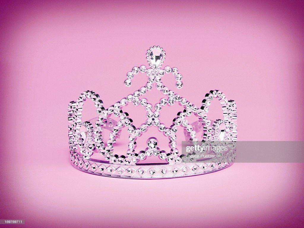 Princess tiara on pink background : Stock Photo