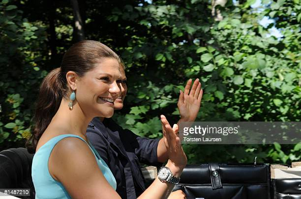 Princess Victoria and Princess Madeleine attend The Sigvard Bernadotte Exhibition at Sofiero on June 7 2008 in Helsingborg Sweden