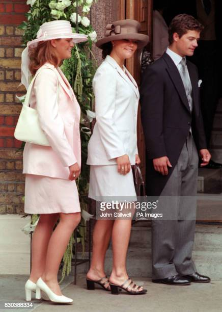 Princess Victoria arrives with other guests at the Greek Orthodox Cathedral of St Sophia in Bayswater west London for Princess Alexia's wedding to...
