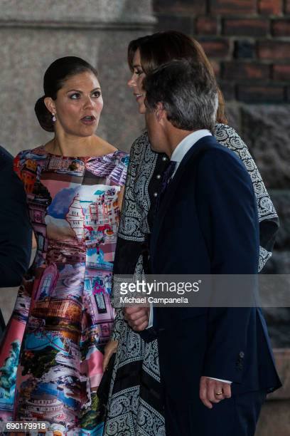 Princess Victoria of Sweden alongside Prince Frederik and Princess Mary of Denmark arrive Stockholm city hall for an official dinner on May 30 2017...