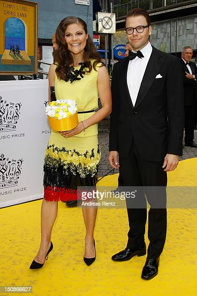 Princess Victoria of Sweden and Prince Daniel arrive for the Polar Music Prize at Konserthuset on August 28 2012 in Stockholm Sweden