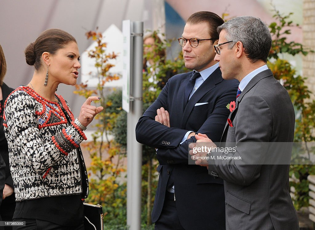 Princess Victoria of Sweden and Prince Daniel of Sweden at Skanska Seven Acres housing development during an official visit on November 8, 2013 in Cambridge, Cambridgeshire.