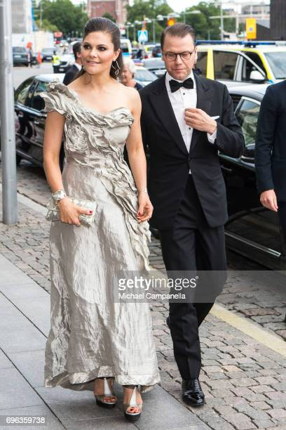 Princess Victoria of Sweden and Prince Daniel of Sweden attend a formal dinner at Grand Hotel after attending an award ceremony for the Polar Music...
