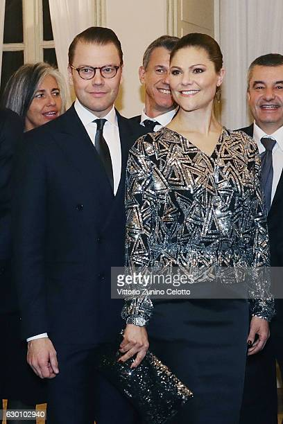 Princess Victoria of Sweden and Prince Daniel of Sweden attend a party honouring the Swedish Crown Couple and Minister Ekstrom in Milan on December...