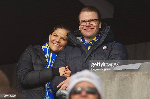Princess Victoria of Sweden and Prince Daniel of Sweden attend the Ladies Relay 4x5km Classic/Free race during the FIS Nordic World Ski Championships...