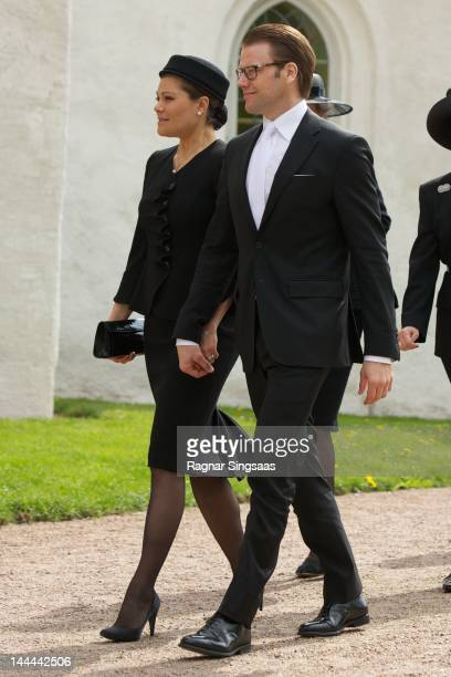 Princess Victoria of Sweden and Prince Daniel of Sweden attend the funeral of Count Carl Johan Bernadotte at Bastad Church on May 14 2012 in Bastad...