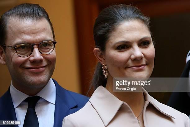 Princess Victoria of Sweden and Prince Daniel of Sweden visit The Birgitta Sisters in Rome at the convent Church of Santa Brigida on December 15 2016...