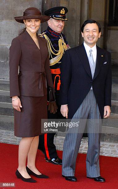 Princess Victoria of Sweden and the Crown Prince Naruhito of Japan arrive for the wedding of Dutch Crown Prince Willem Alexander and Crown Princess...