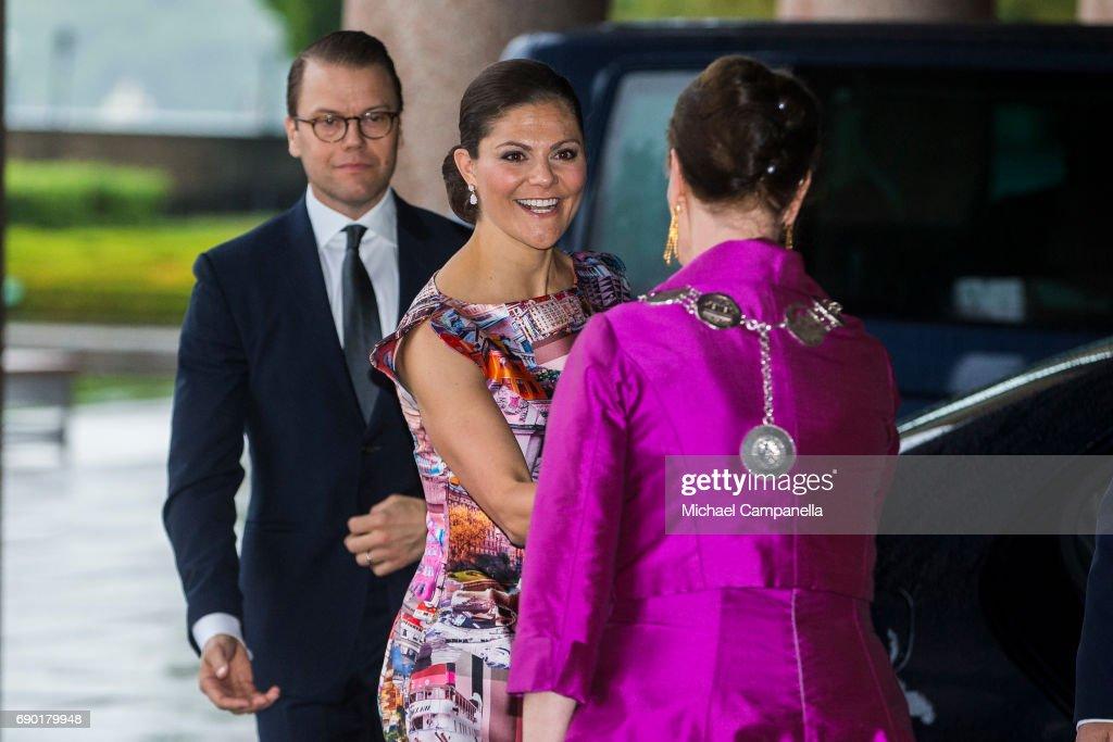 Princess Victoria of Sweden arrives Stockholm city hall for an official dinner on May 30, 2017 in Stockholm, Sweden.