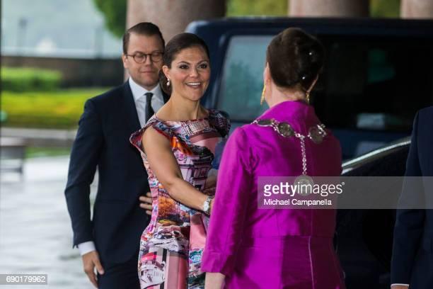 Princess Victoria of Sweden arrives Stockholm city hall for an official dinner on May 30 2017 in Stockholm Sweden
