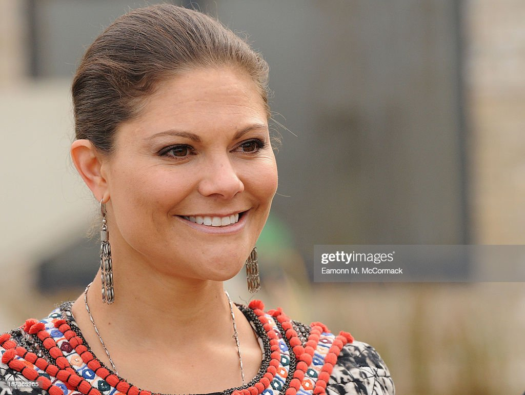 Princess Victoria of Sweden at Skanska Seven Acres housing development during an official visit on November 8, 2013 in Cambridge, Cambridgeshire.