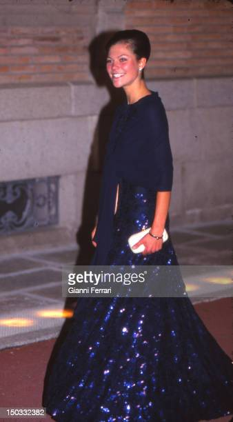 Princess Victoria of Sweden at the wedding of the Infanta Cristina daughter of the Spanish Kings Juan Carlos and Sofia 04th October 1997 Barcelona