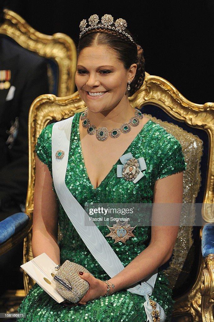 Princess Victoria of Sweden attends the 2012 Nobel Prize Award Ceremony at Concert Hall on December 10, 2012 in Stockholm, Sweden.