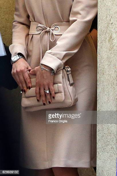 Princess Victoria of Sweden bag detail visits The Birgitta Sisters in Rome at the convent Church of Santa Brigida on December 15 2016 in Rome Italy