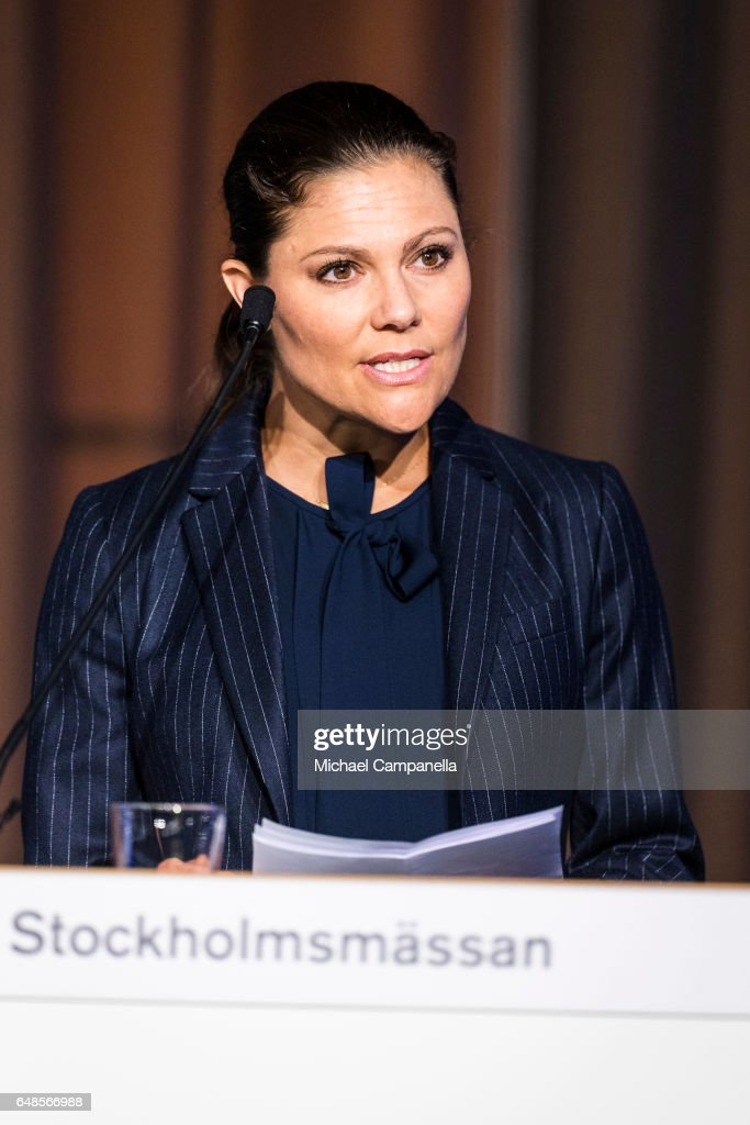 Princess Victoria of Sweden gives a speech at the inauguration of the 2017 Baltic Sea Future congress held at the Stockholm International Fairs & Congress Centre on March 6, 2017 in Stockholm, Sweden.