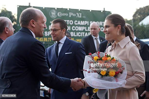 Princess Victoria of Sweden greets AS Roma General Manager Mauro Baldissoni as The Swedish Crown Couple and Minister Ekstrom visit AS Roma at the St...