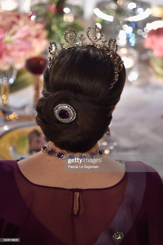 Princess Victoria of Sweden, hair detail, attends the Nobel Prize Banquet 2015 at City Hall on December 10, 2015 in Stockholm, Sweden.
