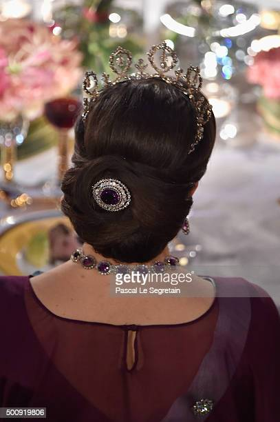 Princess Victoria of Sweden hair detail attends the Nobel Prize Banquet 2015 at City Hall on December 10 2015 in Stockholm Sweden
