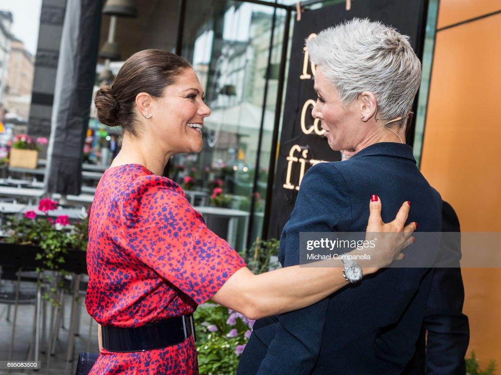 Princess Victoria of Sweden is greeted by Dr. Gunhild Stordalen after arriving at the EAT Stockholm Food Forum at the Clarion Hotel Sign on June 12, 2017 in Stockholm, Sweden.