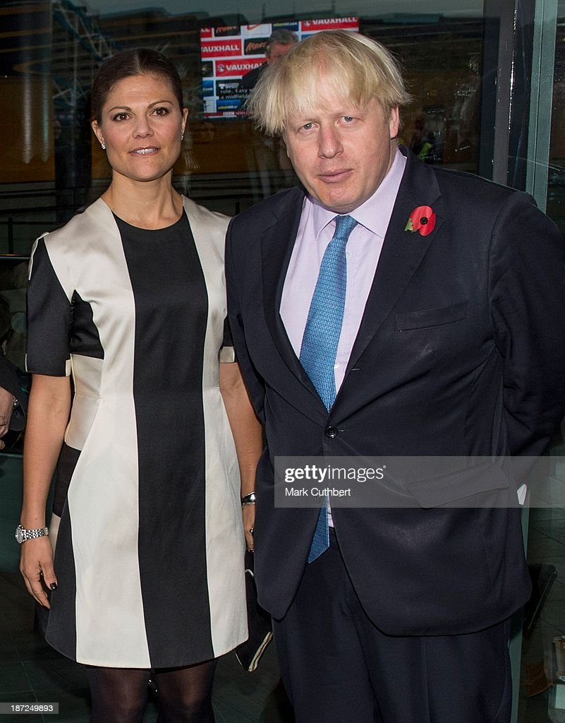 Princess Victoria of Sweden is greeted by Mayor of London, <a gi-track='captionPersonalityLinkClicked' href=/galleries/search?phrase=Boris+Johnson&family=editorial&specificpeople=209016 ng-click='$event.stopPropagation()'>Boris Johnson</a> (R) at City Hall during an official visit to London on November 7, 2013 in London, England.