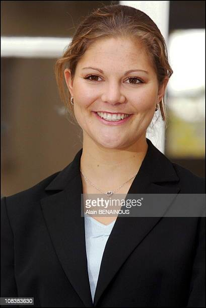 Princess Victoria of Sweden starts internship at the trade department of the Swedish Embassy in Paris France on November 12 2002
