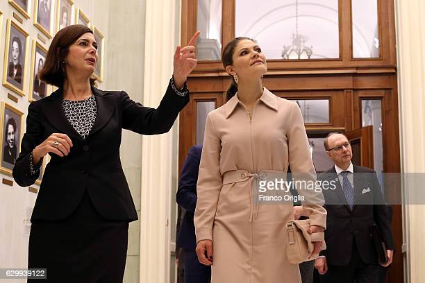 Princess Victoria of Sweden Sweden meets President of the Chamber of Deputies Laura Boldrini as they visits the Italian Parliament at the Chamber of...