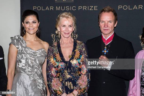 Princess Victoria of Sweden Trudie Styler and Sting attend a formal dinner after the award ceremony for the Polar Music Prize at Konserthuset on June...