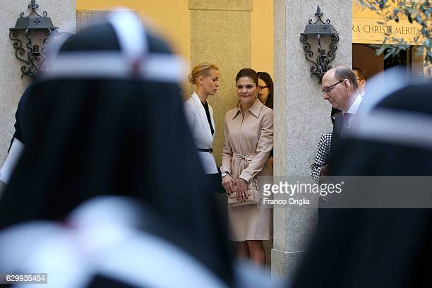 Princess Victoria of Sweden visits The Birgitta Sisters in Rome at the convent Church of Santa Brigida on December 15 2016 in Rome Italy
