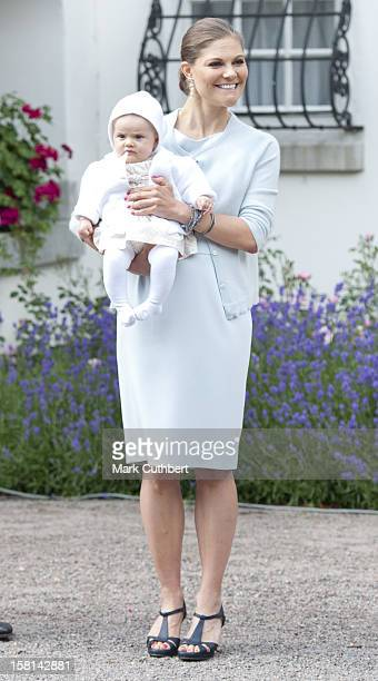 Princess Victoria Of Sweden With Her Daughter Princess Estelle Of Sweden At Birthday Celebrations For Victorias 35Th Birthday At Solliden In Borgholm...