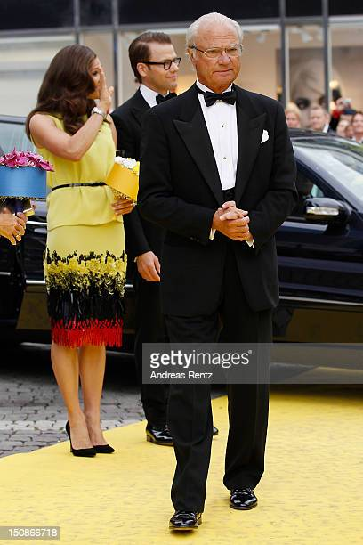 Princess Victoria of Sweden with Prince Daniel and King Carl XVI Gustaf of Sweden arrive for the Polar Music Prize at Konserthuset on August 28 2012...