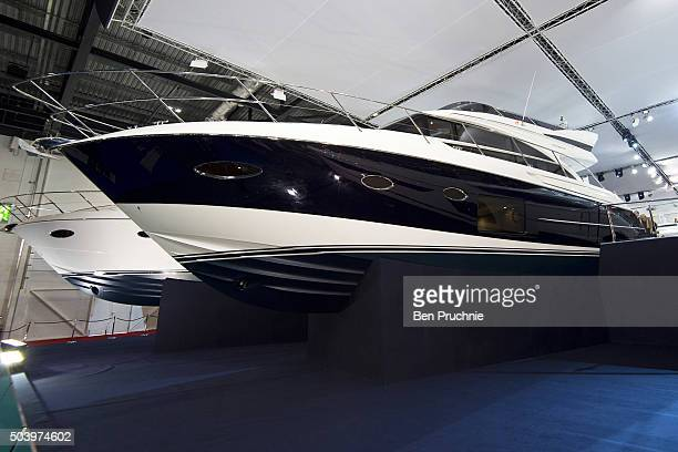 Princess yachts are displayed during the London Boat Show at ExCel on January 8 2016 in London England The London Boat Show taking place from 8 17...