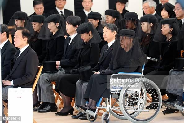 Princess Yuriko of Mikasa chief mourner Crown Prince Naruhito Crown Princess Masako Prince Akishino Princess Kiko of Akishino Princess Mako of...
