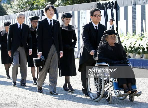 Princess Yuriko of Mikasa Prince Akishino and Princess Kiko of Akishino attend the funeral of late Prince Mikasa at Toshimagaoka Cemetery on November...