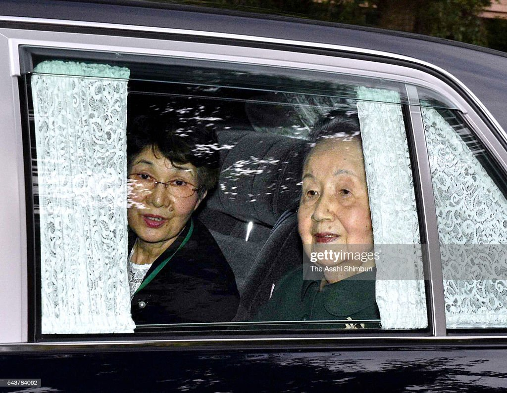 Princess Yuriko , wife of 100-year-old Prince Mikasa leaves the St. Luke's International Hospital on June 30, 2016 in Tokyo, Japan. 100-year old Prince Mikasa has been in hospital as he suffered an acute pneumonia last month.