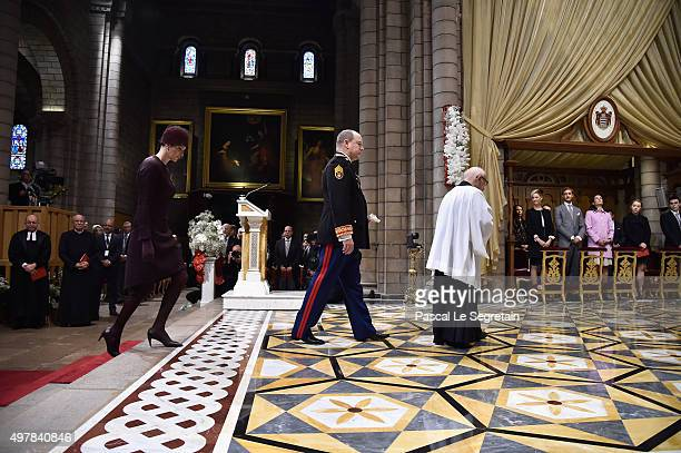 Princesse Charlene Of Monaco and Prince Albert II Of Monaco attend a mass at the Cathedral of Monaco during the official ceremonies during the Monaco...