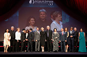 Princesse Charlene of Monaco poses with jury members during the opening ceremony of the 55th Monte Carlo TV Festival on June 13 2015 in MonteCarlo...
