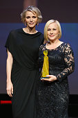 Princesse Charlene of Monaco poses with Patricia Arquette after she received her crystal Nymph for her career during the opening ceremony of the 55th...
