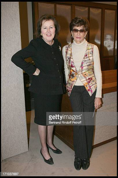 Princesse Laure De Beauvau Craon and Comtesse Jacqueline De Ribes at Private View At Sotherby's In Paris Presenting Work By Jeff Koons Given To The...