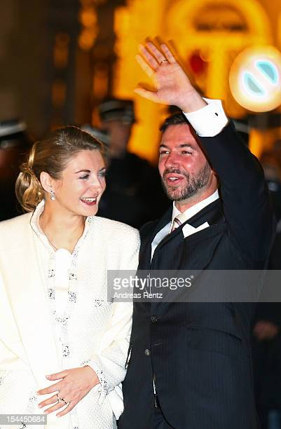 Princesse Stephanie of Luxembourg and Prince Guillaume of Luxembourg walk in the streets after their wedding ceremony of Prince Guillaume of...